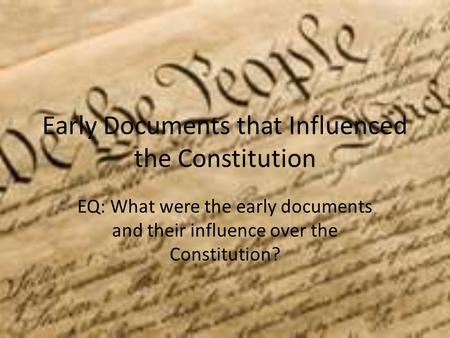influences on the constitution table r6