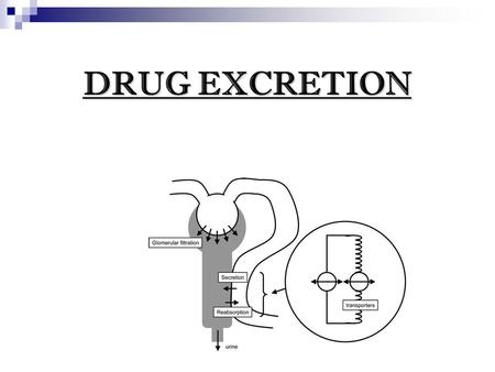 DRUG EXCRETION. The process by which drugs or metabolites are irreversibly transferred from internal to external environment through renal or non renal.