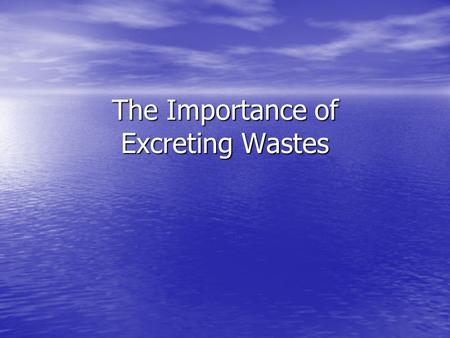 The Importance of Excreting Wastes. Why Pee? The body runs chemical reactions necessary for life. The products of these reactions tend to be useful to.