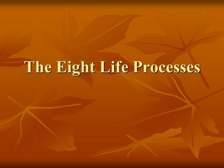 The Eight Life Processes All organisms carry out the eight life processes. All organisms carry out the eight life processes. An Organism = Any Living.