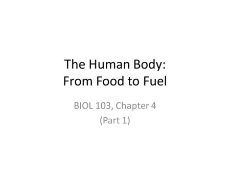 The Human Body: From Food to Fuel BIOL 103, Chapter 4 (Part 1)