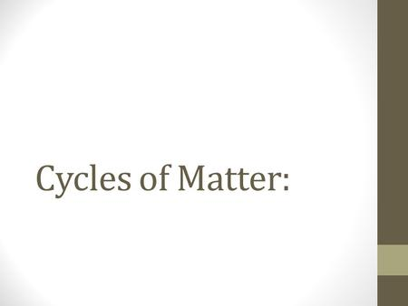 Cycles of Matter:. Conservation of Energy: Energy cannot be created or destroyed, it can only change forms.