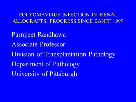 POLYOMAVIRUS INFECTION IN RENAL ALLOGRAFTS: PROGRESS SINCE BANFF 1999 Parmjeet Randhawa Associate Professor Division of Transplantation Pathology Department.