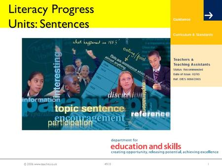 © 2006 www.teachit.co.uk14910 Literacy Progress Units: Sentences.