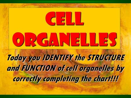 Cell Organelles Today you IDENTIFY the STRUCTURE and FUNCTION of cell organelles by correctly completing the chart!!!