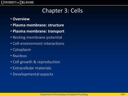 Department of Kinesiology and Applied Physiology WCR Chapter 3: Cells Overview Plasma membrane: structure Plasma membrane: transport Resting membrane potential.