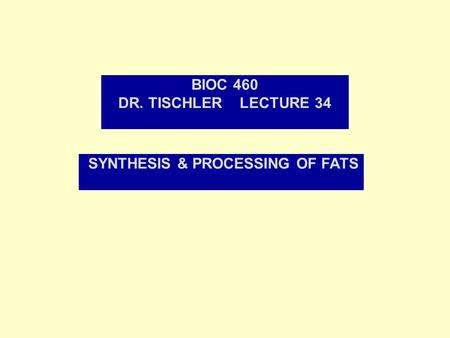 BIOC 460 DR. TISCHLER LECTURE 34 SYNTHESIS & PROCESSING OF FATS.