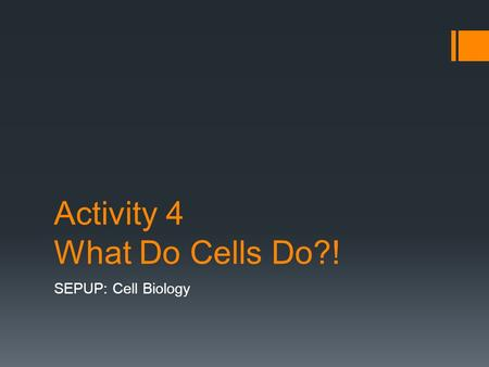 Activity 4 What Do Cells Do?! SEPUP: Cell Biology.