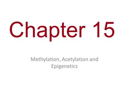 Chapter 15 Methylation, Acetylation and Epigenetics.