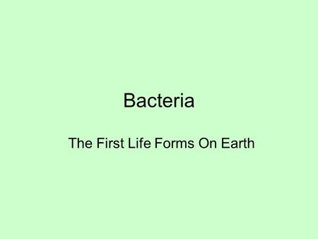 Bacteria The First Life Forms On Earth. Where They Are Found Air, water, soil, animals, people, food, and more Cheese, yoghurt, and other dairy products.