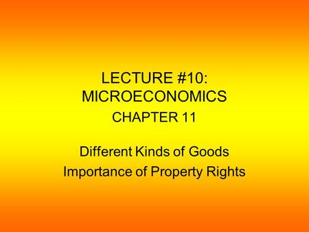 LECTURE #10: MICROECONOMICS CHAPTER 11 Different Kinds of Goods Importance of Property Rights.