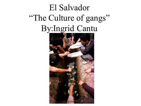 "El Salvador ""The Culture of gangs"" By:Ingrid Cantu."