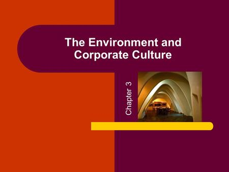 The Environment and Corporate Culture Chapter 3. Copyright © 2005 by South-Western, a division of Thomson Learning. All rights reserved. 2 Organizational.
