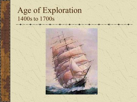 Age of Exploration 1400s to 1700s. Motives Search for new trade routes wanted to find a quicker way to Asia Desire for new products Crusades and travels.