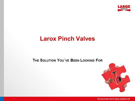 Larox Pinch Valves T HE S OLUTION Y OU ´ VE B EEN L OOKING F OR.