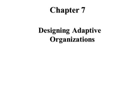 Chapter 7 Designing Adaptive Organizations. Major Concerns in Organizing u Division of Labor (Differentiation) u Coordination (Integration) In Reference.