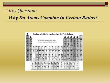 Key Question: Why Do Atoms Combine In Certain Ratios? - ppt download