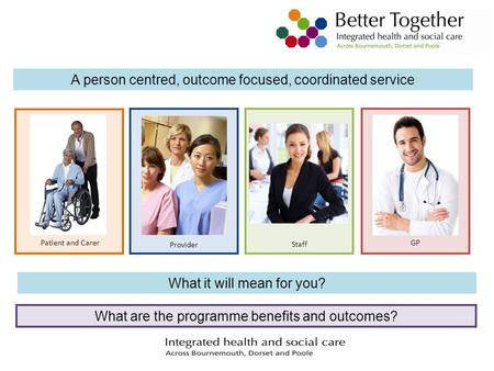 A person centred, outcome focused, coordinated service What it will mean for you? Patient and Carer Provider Staff GP What are the programme benefits and.
