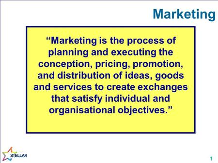 "1 Marketing ""Marketing is the process of planning and executing the conception, pricing, promotion, and distribution of ideas, goods and services to create."