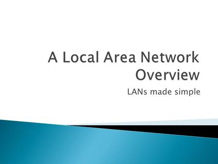 LANs made simple. 2 network devices connected to share resources.