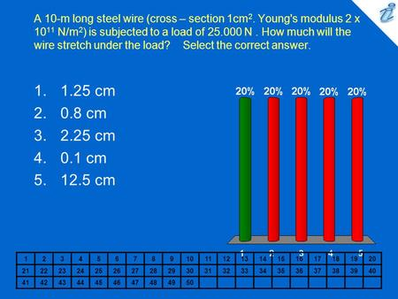 A 10-m long steel wire (cross – section 1cm 2. Young's modulus 2 x 10 11 N/m 2 ) is subjected to a load of 25.000 N. How much will the wire stretch under.