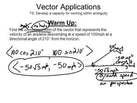Vector Applications TS: Develop a capacity for working within ambiguity Warm Up: Find the component form of the vector that represents the velocity of.