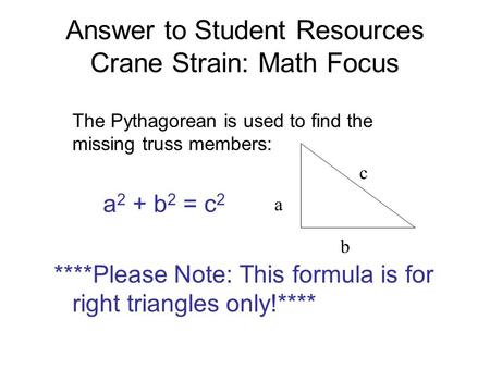 Answer to Student Resources Crane Strain: Math Focus