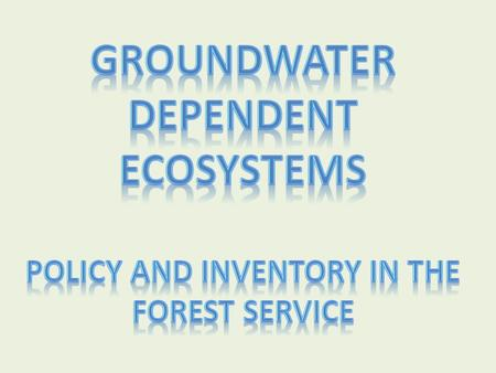 Groundwater Program Goals Maintain ground-water quantity and quality for human use while maintaining ecosystem integrity on NFS lands.
