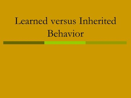 Learned versus Inherited Behavior. What are inherited traits?  Physical traits that are a result of our genes.