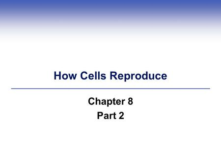 How Cells Reproduce Chapter 8 Part 2.