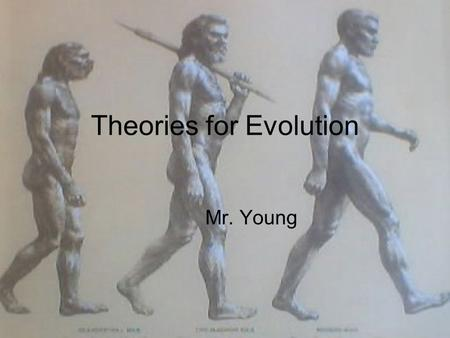 Theories for Evolution Mr. Young. Evolution The process of change within a living system over a period of time Genotype changes vs. Phenotype changes.
