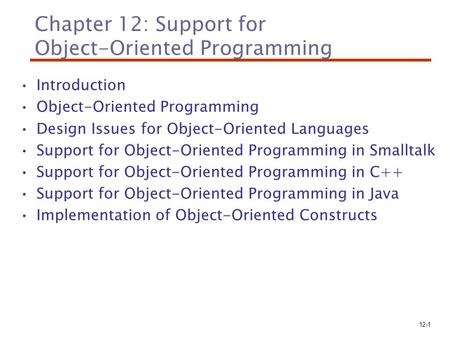 Chapter 12: Support for Object-Oriented Programming