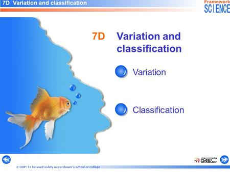 © OUP: To be used solely in purchaser's school or college Variation and classification Variation Classification 7D 7D Variation and classification.