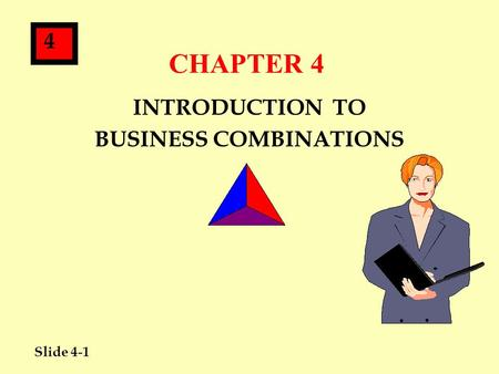 Slide 4-1 4 CHAPTER 4 INTRODUCTION TO BUSINESS COMBINATIONS.