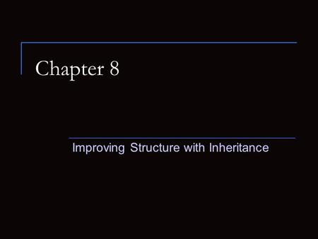 Chapter 8 Improving Structure with Inheritance. The DoME Example The Database of Multimedia Entertainment We will be storing information about CDs and.