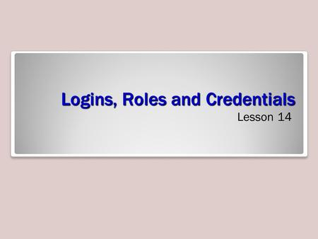 Logins, Roles and Credentials Lesson 14. Skills Matrix.