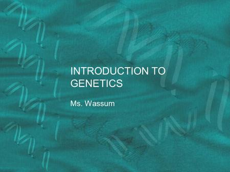 INTRODUCTION TO GENETICS Ms. Wassum. Traits Traits are the different forms of a characteristic that you may exhibit Ex: Blue or Brown Eyes Traits are.