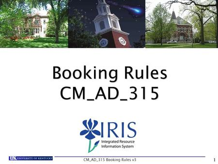 CM_AD_315 Booking Rules v3 1 Booking Rules CM_AD_315.