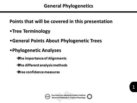 1 General Phylogenetics Points that will be covered in this presentation Tree TerminologyTree Terminology General Points About Phylogenetic TreesGeneral.