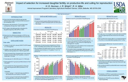 Impact of selection for increased daughter fertility on productive life and culling for reproduction H. D. Norman, J. R. Wright*, R. H. Miller Animal Improvement.