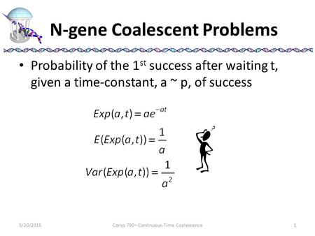 N-gene Coalescent Problems Probability of the 1 st success after waiting t, given a time-constant, a ~ p, of success 5/20/2015Comp 790– Continuous-Time.
