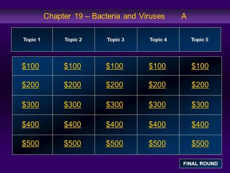 Chapter 19 – Bacteria and Viruses A $100 $200 $300 $400 $500 $100$100$100 $200 $300 $400 $500 Topic 1Topic 2Topic 3Topic 4 Topic 5 FINAL ROUND.