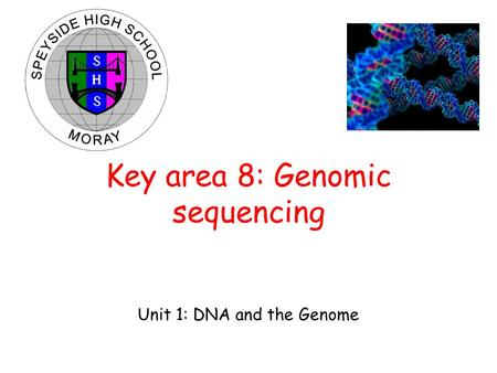 Unit 1: DNA and the Genome Key area 8: Genomic sequencing.