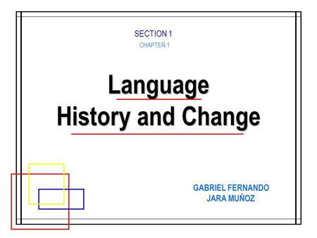 Language History and Change CHAPTER 1 GABRIEL FERNANDO JARA MUÑOZ SECTION 1.