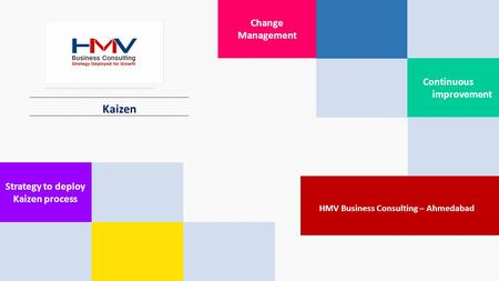 Kaizen Change Management Continuous improvement. Strategy to deploy Kaizen process HMV Business Consulting – Ahmedabad.
