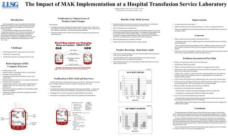 The Impact of MAK Implementation at a Hospital Transfusion Service Laboratory S.Delanghe, K. Eckert, K.Leigh, H. Elgie, K. Hodgins, L Thomson London Laboratory.