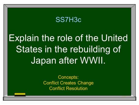 SS7H3c Explain the role of the United States in the rebuilding of Japan after WWII. Concepts: Conflict Creates Change Conflict Resolution.