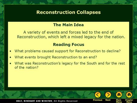 Reconstruction Collapses The Main Idea A variety of events and forces led to the end of Reconstruction, which left a mixed legacy for the nation. Reading.