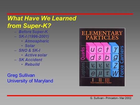 G. Sullivan - Princeton - Mar 2002 What Have We Learned from Super-K? –Before Super-K –SK-I (1996-2001) Atmospheric Solar –SNO & SK-I Active solar –SK.