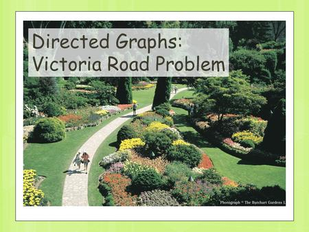 1 Directed Graphs: Victoria Road Problem. 2 Update: Edge is deleted; Edge is inserted Edge weight is changed F A Directed graph problems.